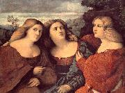 Palma Vecchio The Three Sisters (detail) dh oil painting artist