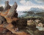 PATENIER, Joachim Landscape with the Flight into Egypt agh oil painting artist