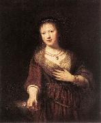 REMBRANDT Harmenszoon van Rijn Portrait of Saskia with a Flower Sweden oil painting reproduction