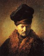 REMBRANDT Harmenszoon van Rijn Bust of an Old Man in a Fur Cap fj Sweden oil painting reproduction