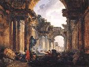 ROBERT, Hubert Imaginary View of the Grande Galerie in the Louvre in Ruins AG oil painting artist