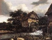 RUISDAEL, Jacob Isaackszon van Two Water Mills and an Open Sluice dfh oil painting picture wholesale