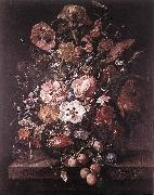 RUYSCH, Rachel Bouquet in a Glass Vase dsf oil painting artist