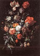 RUYSCH, Rachel Still-Life with Bouquet of Flowers and Plums af oil painting artist