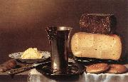 SCHOOTEN, Floris Gerritsz. van Still-life with Glass, Cheese, Butter and Cake A oil painting artist
