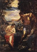 TINTORETTO, Jacopo Baptism of Christ  sd oil painting picture wholesale