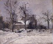 Camille Pissarro Piette-s house,Montfoucault in the snwo oil painting picture wholesale