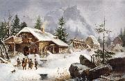 Heinrich Burkel A Village Gathering oil painting picture wholesale
