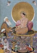 Hindu painter The Mughal emperor jahanir honors a holy dervish,over and above the rulers of the lower world oil painting artist