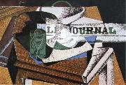 Juan Gris Fruit dish book and newspaper oil painting picture wholesale