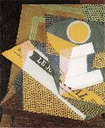 Juan Gris Newpaper and Fruit dish oil painting picture wholesale