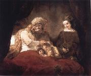 REMBRANDT Harmenszoon van Rijn Jacob Blessing the Sons of Joseph oil painting picture wholesale