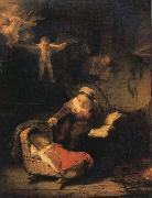 REMBRANDT Harmenszoon van Rijn The Holy Family with Angels oil painting picture wholesale