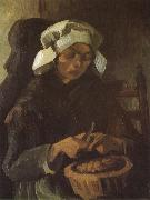 Vincent Van Gogh Peasant Woman Peeling Potatos (nn04) oil painting picture wholesale