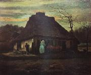 Vincent Van Gogh Cottage at Nightfall (nn04) oil painting picture wholesale