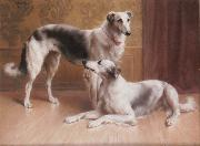 Carl Reichert Hounds in an Interior oil