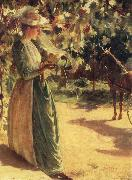 Charles Courtney Curran Woman with a horse oil