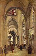 Corot Camille Interior of the Cathedral of sens oil painting picture wholesale