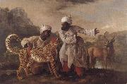 George Stubbs Cheetah and Stag with Two Indians oil painting picture wholesale