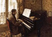 Gustave Caillebotte The young man plays the piano oil painting picture wholesale