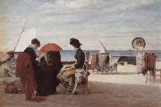 Jules Aviat Beach Scene,Trouville oil painting picture wholesale