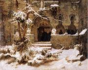 Carl Friedrich Lessing Monastery Courtyard in the Snow oil painting picture wholesale
