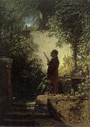 Carl Spitzweg Man Reading the Newspaper in His Garden oil painting picture wholesale
