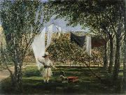 Charles Robert Leslie Child in a Garden with His Little Horse and Cart oil