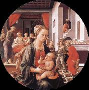 Filippino Lippi Virgin with the Child and Scenes from the Life of St Anne oil painting picture wholesale
