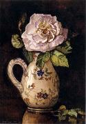 Hirst, Claude Raguet White Rose in a Glazed Ceramic Pitcher with Floral Design oil painting picture wholesale