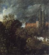 John Constable View into a Garden in Hampstead with a Red House beyond oil painting picture wholesale