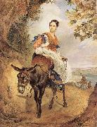 Karl Briullov Portrait of countess olga fersen riding a donkey oil painting picture wholesale