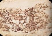 LEONARDO da Vinci Landscape in the Arnotal oil painting picture wholesale
