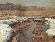 Levitan, Isaak Fruhling the last snow oil painting picture wholesale