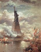 Moran, Edward Statue of Liberty Enlightening the World oil painting artist
