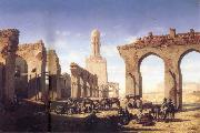 Prosper Marilhat The Ruins of the El Hakim Mosque in Cairo oil
