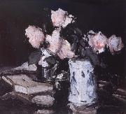 Samuel John Peploe Roses in a Blue and White Vase,Black Background oil painting picture wholesale
