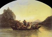 Adrian Ludwig Richter Crossing the Elbe at Aussig oil painting picture wholesale