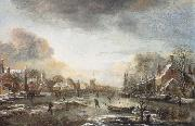 Aert van der Neer A Frozen River by a Town at Evening oil painting picture wholesale