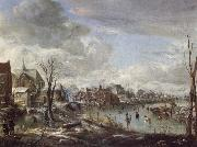 Aert van der Neer A Frozen River Near a Village,with Golfers and Skaters oil painting picture wholesale