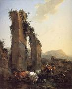 BERCHEM, Nicolaes Peasants with Four Oxen and a Goat at a Ford by a Ruined Aqueduct oil painting picture wholesale