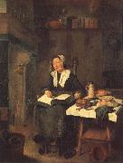BREKELENKAM, Quiringh van A Woman Asleep by a Fire oil