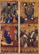 Barnaba Da Modena THe Coronation of the Virgin ,the trinity,the tirgin and child,the Crucifixion oil painting artist