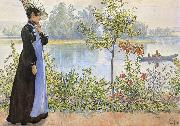 Carl Larsson Late Summer Karin by the Shore oil painting picture wholesale