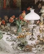 Carl Larsson Around the Lamp at Evening oil painting picture wholesale