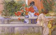 Carl Larsson Karin and Brita with Cactus oil painting picture wholesale
