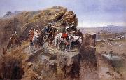 Charles M Russell Indians on a Bluff Surverying General Miles-Troops oil painting picture wholesale