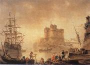 Charles-Francois de la Croix Harbour with a Fortress oil painting picture wholesale