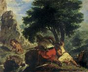 Eugene Delacroix Lion Hunt in Morocco oil painting picture wholesale