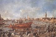 Francesco Guardi Departure of Bucentaure towards the Lido of Venice on Ascension Day oil painting picture wholesale